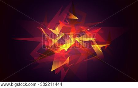 Shards Of Broken Glass. Red Abstract Shapes Explosion. Glowing Dynamic Background For Sport, Music O