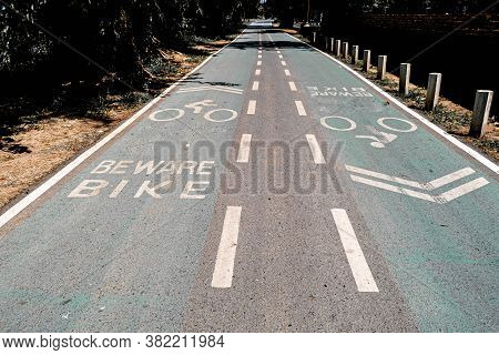 Empty Bike Lanes Or Cycle Lanes, Bike Way With Lanes. Symbols Cyclists On Green Road.