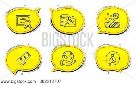 Money Exchange Sign. Diploma Certificate, Save Planet Chat Bubbles. Accounting Report, Sale And Fast