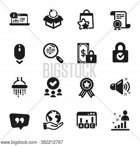 Set Of Technology Icons, Such As Scroll Down, Loyalty Points. Certificate, Approved Group, Save Plan