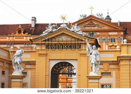 Statues of saint Coloman and  Leopold II in Melk Abbey, lower Austria