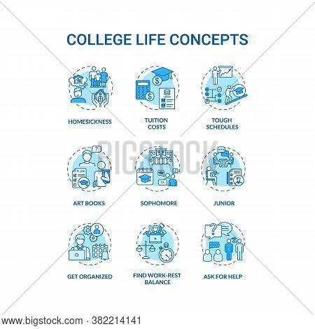 College Life Turquoise Concept Icons Set. Tough Schedule. Sophomore, Junior And Senior. Student Livi