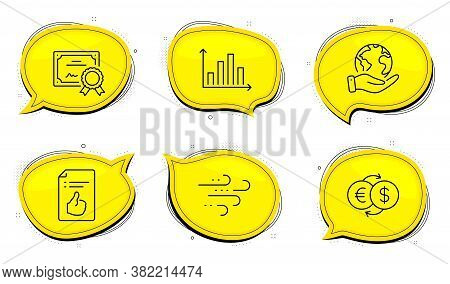 Money Exchange Sign. Diploma Certificate, Save Planet Chat Bubbles. Diagram Graph, Approved Document