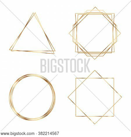 Golden Geometric Frames. Geometrical Polyhedron. Modern Abstract Elements. Geometric Premium Gold Gl