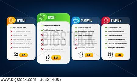 Teacup, Coffee And Water Bottle Line Icons Set. Pricing Table, Subscription Plan. Frying Pan Sign. T