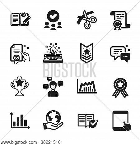 Set Of Education Icons, Such As Approved Documentation, Tablet Pc. Certificate, Approved Group, Save