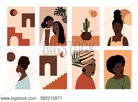 Set Of Abstract Modern African American Woman Faces Portraits Artistic Trendy Background Poster Card