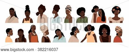 Set Of Abstract African American Woman Portraits Isolated On White Background. Modern Young Feminine