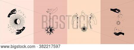 Set Of Alchemy Esoteric Mystical Magic Celestial Talisman With Woman Hands, Sun, Moon, Stars Sacred