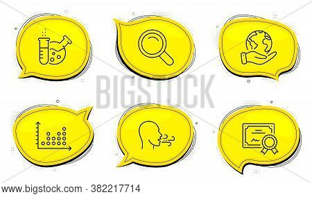 Breathing Exercise Sign. Diploma Certificate, Save Planet Chat Bubbles. Chemistry Lab, Search And Do
