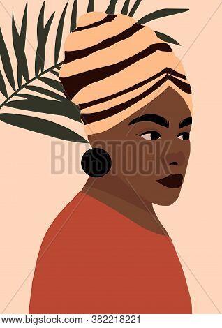 Modern Young African American Black Woman Portrait. Fashion Minimal Trendy Female Face With Dark Ski