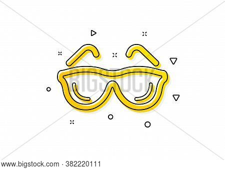 Oculist Clinic Sign. Eyeglasses Icon. Optometry Vision Symbol. Yellow Circles Pattern. Classic Eyegl