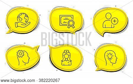 Hospital Nurse Sign. Diploma Certificate, Save Planet Chat Bubbles. Engineering, Add User And Idea H