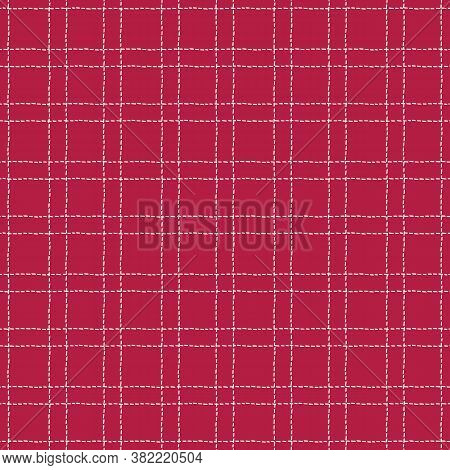 Classic Hand-drawn White And Red Stitched Plaid Checks Vector Seamless Pattern. Traditional Retro Te