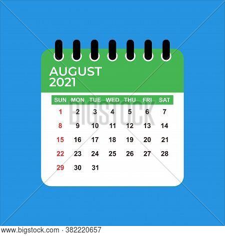 August 2021 Calendar. Calendar August 2021. August 2021 Calendar Vector Illustration. Wall Desk Cale