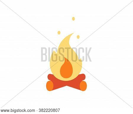 Isolated Bonefire Camping Implements Emoji Icon - Vector
