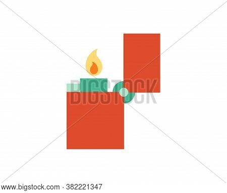 Isolated Lighter Camping Implements Emoji Icon - Vector