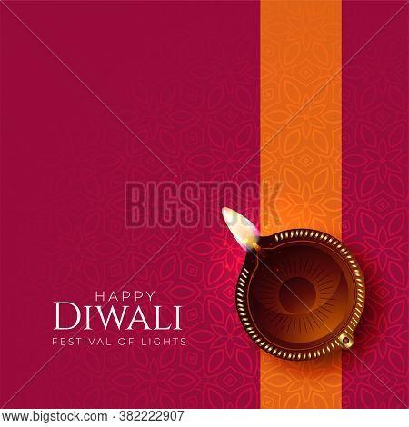 Happy Diwali Diya Background With Diya Decoration Vector Design Illustration