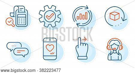 Service, Support And Dots Message Signs. Bill Accounting, Return Package And Update Data Line Icons