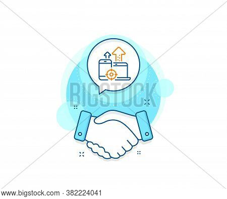 Web Targeting Sign. Handshake Deal Complex Icon. Seo Devices Line Icon. Traffic Management Symbol. A