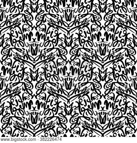 Graffiti Street Art Tags - Black And White Grunge Style Vector Seamless Pattern. Hip Hop Street Art