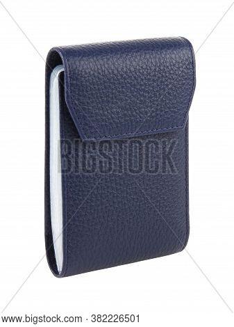 New Dark Blue Card Case Of Genuine Cattle Leather. Without Shadows. Isolated On White Background. Cl