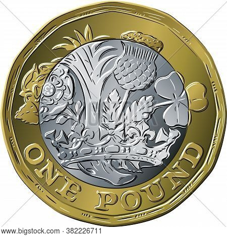 Vector British Money Gold Coin One Pound New 12-sided Design With English Rose, Leek For Wales, Scot