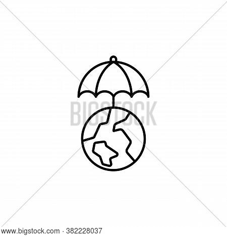 World Under Umbrella Line Icon. Signs And Symbols Can Be Used For Web, Logo, Mobile App, Ui, Ux