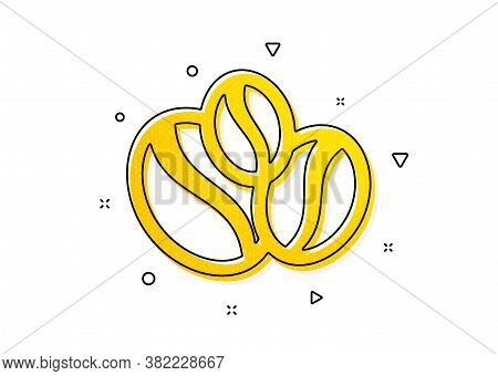 Hot Drink Sign. Coffee Beans Icon. Whole Bean Beverage Symbol. Yellow Circles Pattern. Classic Coffe