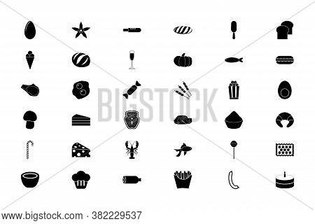 Food Gastronomy Groceries Black Color Set Solid Style Vector Illustration