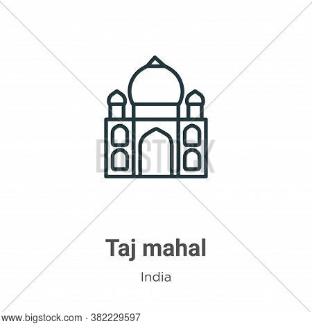 Taj mahal icon isolated on white background from india collection. Taj mahal icon trendy and modern