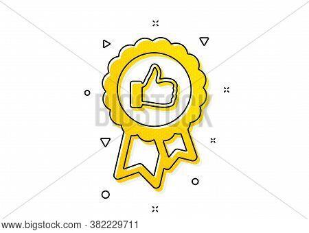 Award Medal Symbol. Positive Feedback Icon. Reward Sign. Yellow Circles Pattern. Classic Positive Fe