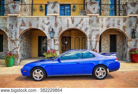 Westlake, Texas - August 23, 2020: Side View Of A Blue 2001 Honda Prelude Performance Car. The Two-d