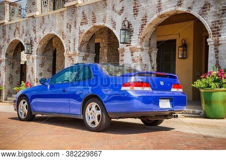 Westlake, Texas - August 23, 2020: Back Side View Of A Blue 2001 Honda Prelude Performance Car. The