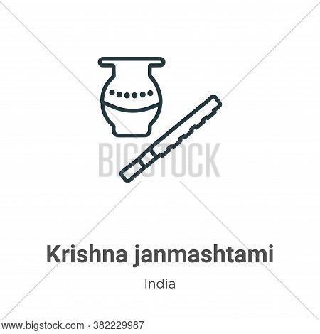 Krishna janmashtami icon isolated on white background from india collection. Krishna janmashtami ico