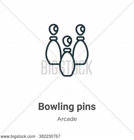 Bowling pins icon isolated on white background from arcade collection. Bowling pins icon trendy and