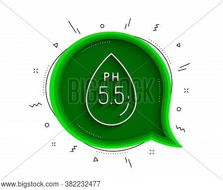 Ph Neutral Line Icon. Chat Bubble With Shadow. Clinically Tested Sign. Water Drop Symbol. Thin Line