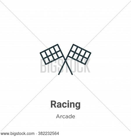 Racing icon isolated on white background from arcade collection. Racing icon trendy and modern Racin