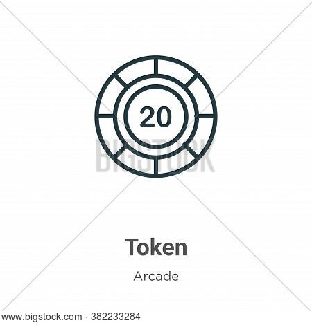 Token icon isolated on white background from arcade collection. Token icon trendy and modern Token s