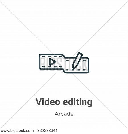 Video editing icon isolated on white background from entertainment collection. Video editing icon tr