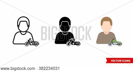 Biker Motorcyclist Icon Of 3 Types Color, Black And White, Outline. Isolated Vector Sign Symbol.