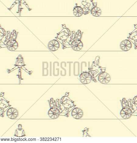 Seamless Pattern With Cyclists On Bicycles. Stereoscopic Continuous Line Drawing Of People Riding Bi