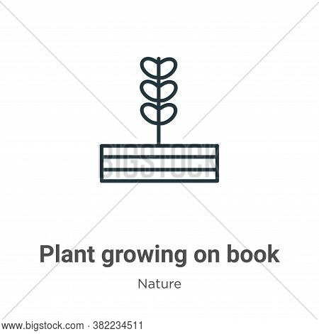 Plant growing on book icon isolated on white background from nature collection. Plant growing on boo