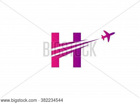Creative Air Travel Logo Design With H Letter. H Letter Concept Airplane And Travel Logo.
