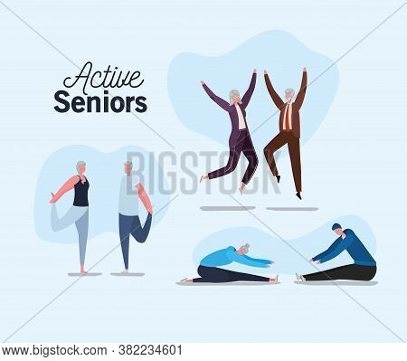 Set Of Active Seniors Woman And Man Cartoons Jumping And Doing Yoga Design, Activity Theme Vector Il