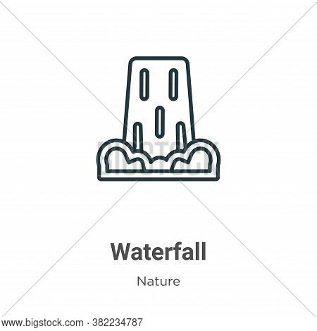 Waterfall icon isolated on white background from nature collection. Waterfall icon trendy and modern