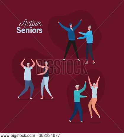 Set Of Active Seniors Woman And Man Cartoons On Red Background Design, Activity Theme Vector Illustr