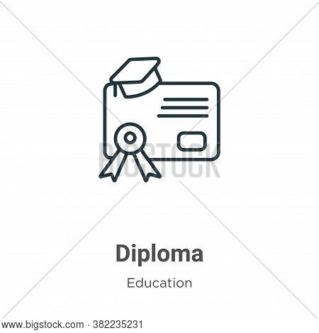 Diploma icon isolated on white background from education collection. Diploma icon trendy and modern