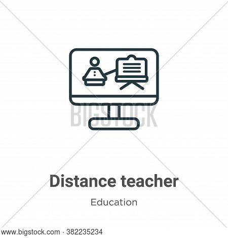 Distance teacher icon isolated on white background from education collection. Distance teacher icon