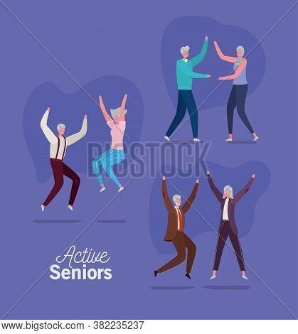 Set Of Active Seniors Woman And Man Cartoons On Purple Background Design, Activity Theme Vector Illu
